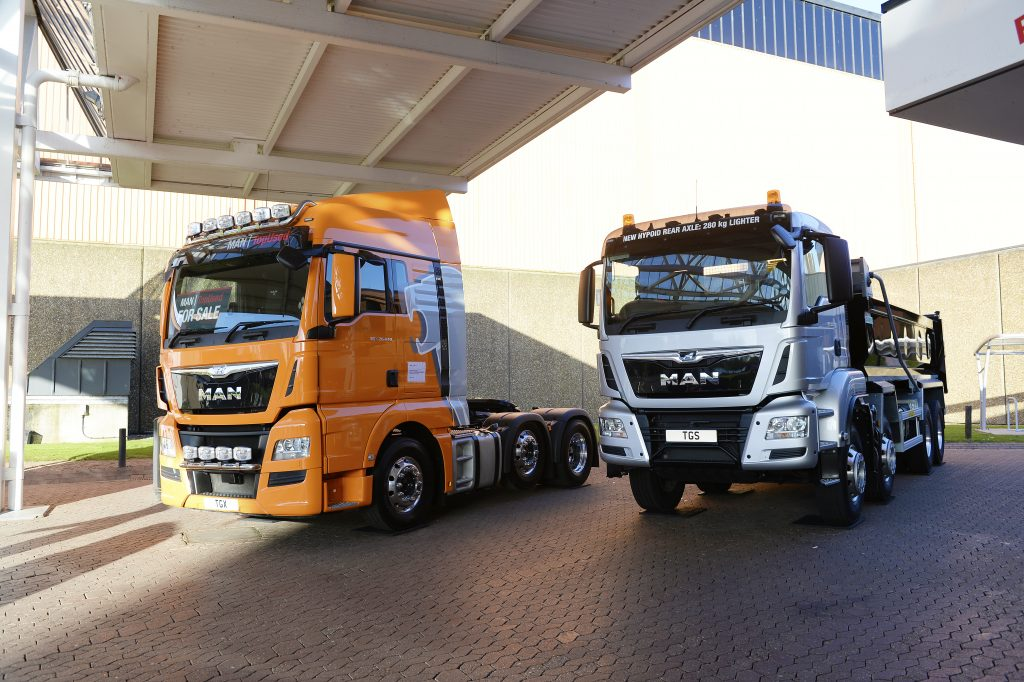 Photo of two trucks from this years Commercial Vehicle Show