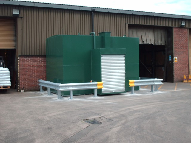 Bunded Fuel Tank Protected with ARMCO Barrier
