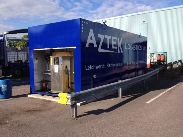 Fueltek FT4000AP Twin nozzle fuel pump in a blue Aztek Logistics branded filling station