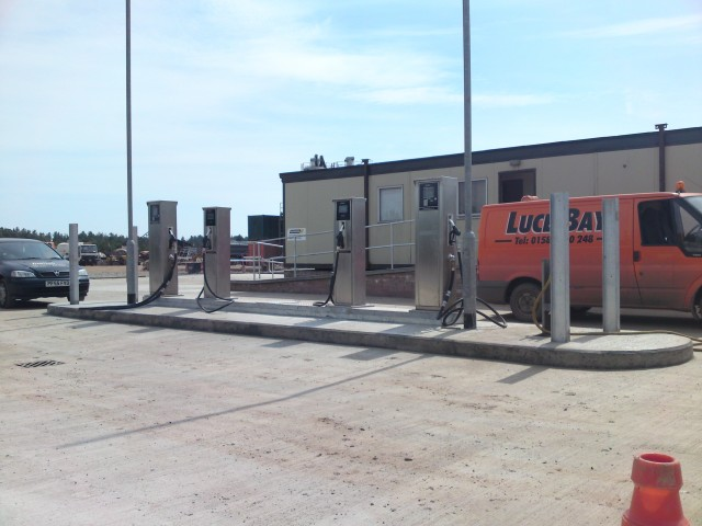 Four fueltek fuel pumps at a custom filling station at Luce Bay plant hire headquarters