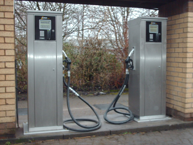 Two Fueltek FT4000AP fuel pumps in a bespoke filling station