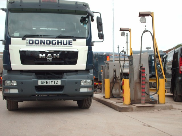 PB Donoghue truck parked next to two FuelTek fuel pumps