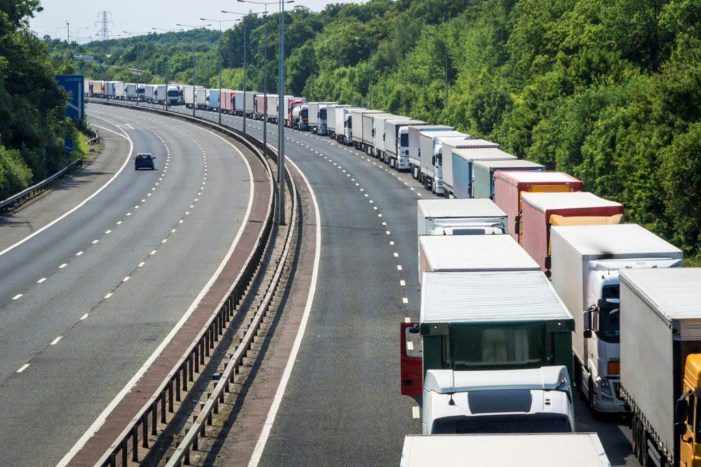 lots of lorries in traffic